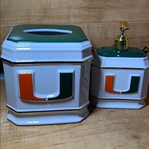 Other - Miami hurricanes napkin holder and soap dispenser